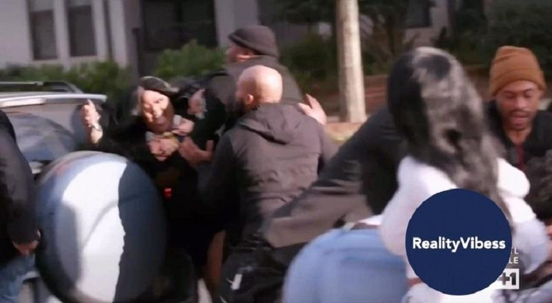 "LightskinKeisha continued the fight with Akbar V, which began inside Spice's event, into the parking lot. When Akbar V drove off, Keisha was behind her, jumping out of the car to attack Akbar V. Toyko Vanity was right behind her, but security left her restrained, on the ""Love & Hip Hop Atlanta"" season nine finale."