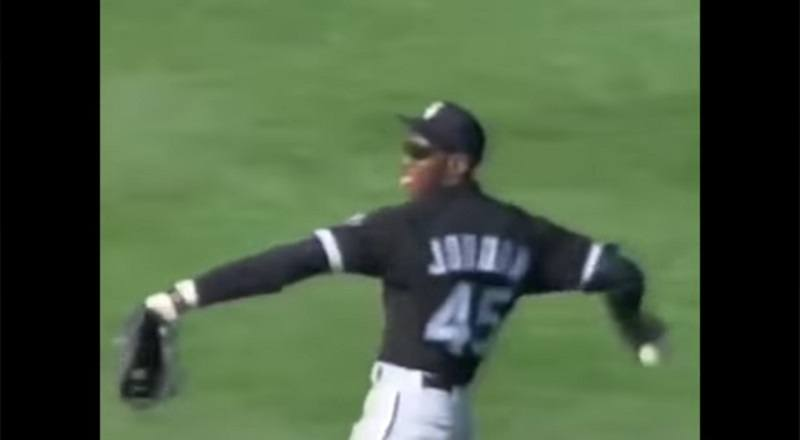 Michael Jordan plays right field for the Chicago White Sox.