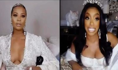 """Porsha Williams argues with Eva Marcille during part one of """"The Real Housewives of Atlanta"""" reunion. During the argument, Porsha insults Eva, telling her that her breasts are social distancing themselves from each other."""