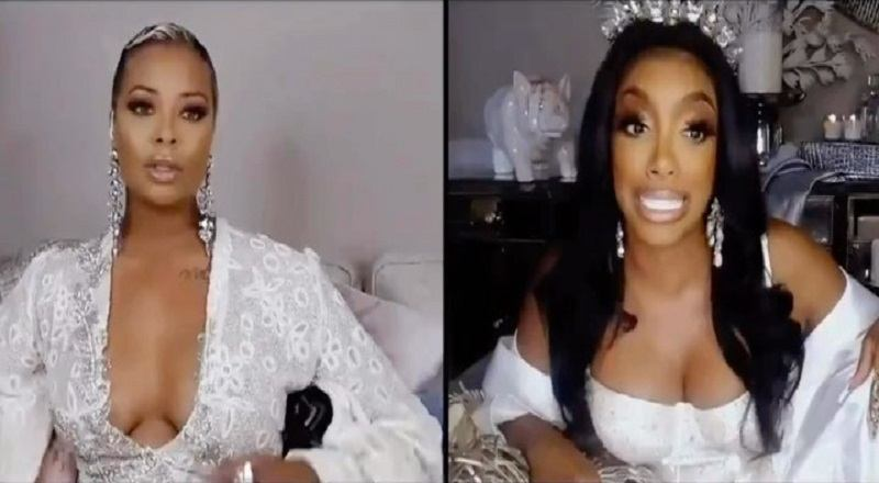 "Porsha Williams argues with Eva Marcille during part one of ""The Real Housewives of Atlanta"" reunion. During the argument, Porsha insults Eva, telling her that her breasts are social distancing themselves from each other."