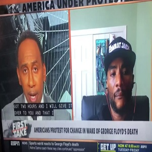 "Charlamagne Tha God spoke with Stephen A. Smith, on ESPN's ""First Take,"" this morning. Their conversation was about the rioting in America, due to the George Floyd murder, in Minneapolis. Charlamagne Tha God offered his take to Stephen A. Smith, telling him nothing good will come to America, until they do right by black people."