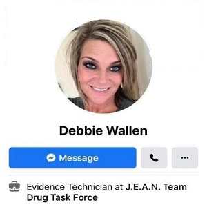 Debbie Wallen is an Evidence Technician at J.E.A.N. Drug Task Force, in Marion, Indiana. Despite her work for law enforcement, she seems to hold people of color in disdain. She shared several racist memes and comments, including Shaquille O'Neal on the Quaker Oatmeal box, jokes about separating colors from whites, in laundry, and shares meme joking about KKK hoods being found near Bubba Wallace's water cooler.