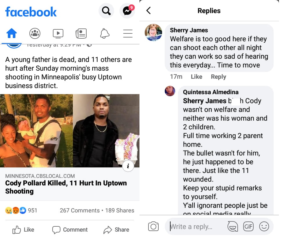"""Sherry Jones, a Laboratory Technician for the University of Minnesota Medical Center, recently made controversial remarks. She commented on the Facebook post, about the death of Cody Pollard. Seeing the story, on Facebook, she commented that welfare is too good if """"they"""" can shoot each other all night, they can go to work."""