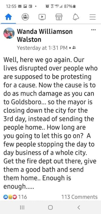 """Wanda Williamson Walston is the owner of Goldsboro, NC's Wanda's Bar and Grill. Due to the protesting, Goldsboro is under a curfew. Walston is angered by this, so she called on the police to tell the protesters to stop protesting and urged the fire department to """"give them a good bath and send them home."""""""
