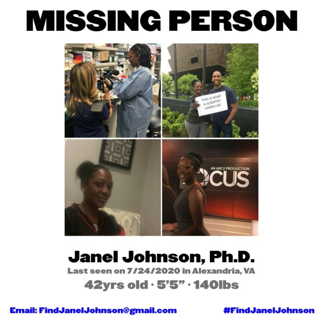 Janel Johnson is a doctor, from Alexandria, Virginia. This young woman, Dr. Johnson was reported missing, last heard from in Alexandria, Virginia, on July 24. According to Facebook comments, her phone was found, traced to DC, and when it was called, a man answered.
