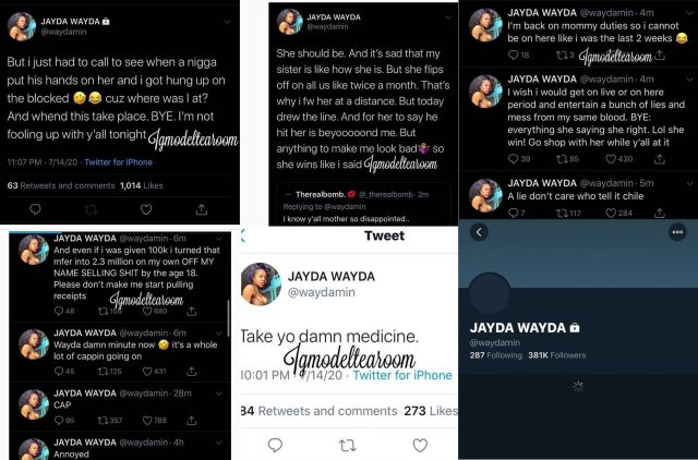 Jayda, Lil Baby's baby mama, got blasted on IG Live, by her own sister @_lookinameerah, who said she had a drug dealer boyfriend who helped her finance her business. Jazz claims Lil Baby put his hands on her, and Jayda did nothing about it. On Twitter, Jayda called her sister a liar and said that when a man did put his hands on her, her sister blocked her, when she reached out, and then said her sister needs to take her medicine.