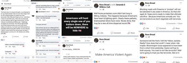 Nathanael Stoner bravely took to Facebook to expose an elaborate scheme. On Facebook, a man named Ross Broad has a plan to organize a group of people to dress like police officers to kidnap and possibly kill Bloomington, Indiana protesters, who are marching after the Vauhxx Booker almost-lynching. Stoner shared several of Ross Broad's statuses, where he called protesters terrorists and discussed killing them.