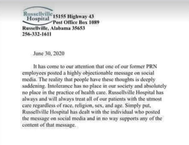 Linda Hutcheson, the ICU Registered Nurse, who made the racist comments, asking the KKK to return, worked for the Russellville Hospital. Many people put pressure on the hospital to fire her. On June 30, 2020, Russellville Hospital, in Alabama, released a statement