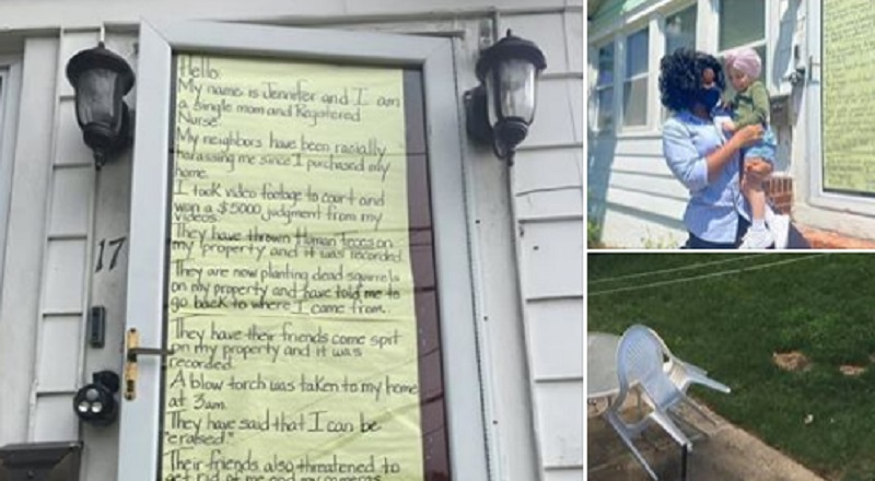 Crystal Hatcher-Edwards shares a scary, heartbreaking, story about a woman named Jennifer, on Facebook. Because she purchased a home, as a black woman, in a white neighborhood, she is being harassed by her neighbors. A page called @standwithjennifer was created in her honor, as Jennifer shared a letter on her door detailing her neighbors trying to torch her home, at 3 am, throwing human feces on her property, spitting on her property, burying dead squirrels on her property, and telling her to go back to where she came from, along with people walking across her yard with guns.