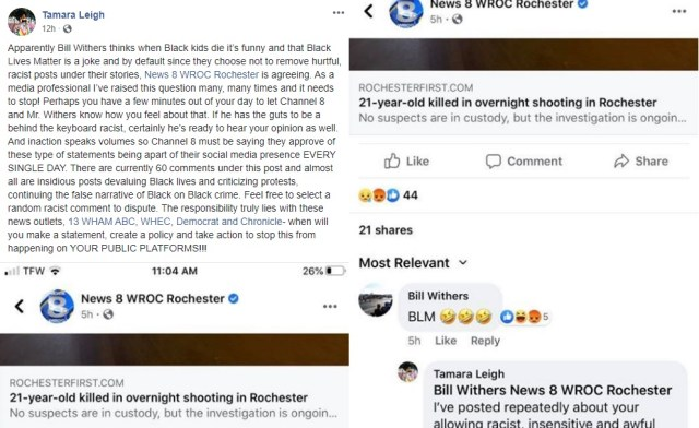 "Tamara Leigh ran across something disturbing, on her Facebook timeline. There was a news report about a 21-year-old black person being shot in an overnight shooting. Apparently, this was black-on-black crime, so local newscaster, Bill Withers, commented by mockingly saying ""BLM,"" along with the crying laughing emoji."