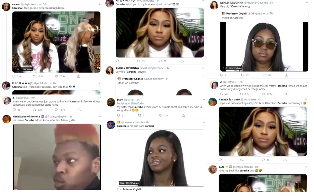 "City Girls recently appeared on ""The Breakfast Club."" During the interview, Charlamagne asked JT about Lil Uzi Vert, her ex-boyfriend, and Yung Miami's facial expression said it all. Twitter went crazy with it, making Caresha trend on Twitter, just because of that facial expression."