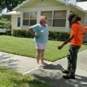 "In Orlando, a landscaping crew was doing their job, when they were approached by this racist white woman, on the left. She approached the man on the right, demanding him and the rest of his crew to leave. When they didn't, she repeatedly said ""f*cking n*gger b*tch,"" shouting this until the neighbors came out, and when they defended the crew, she shouted ""f*cking b*tch,"" until she challenged one neighbor to hit her."