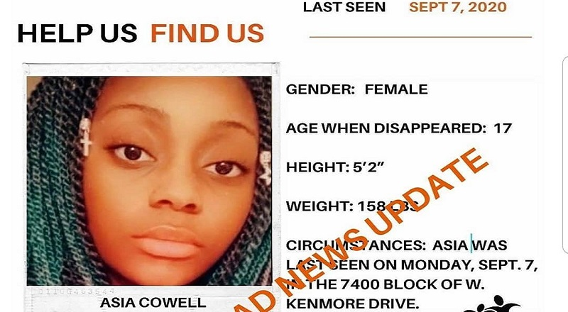 Asia Cowell, of Norfolk, Virginia, had been missing since September 7. Since that time, a major push to find her, and that push recently came to an end. Sadly, Asia Cowell was found, but she was found dead, thus ending the search on a sad note.
