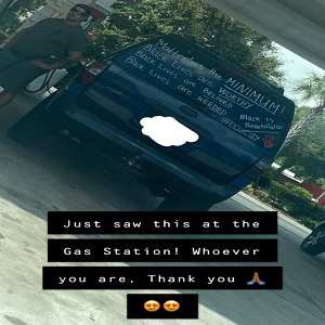 """Danette Allen has one of the most-shared posts on Facebook, right now. Unlike many heavily-shared posts, Danette Allen's is a positive one. While she was out, she spotted a white man pumping gas, and his back mirror contained writing, supporting Black lives, saying """"matter"""" is the minimum for black lives, saying black lives are worthy, needed, beloved, and black is beautiful, including the #POCUnity hashtag, and the post has gone viral, on Facebook."""