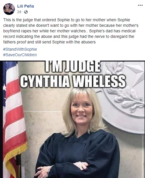 Lili Peña put Judge Cynthia Wheless on blast, on her Facebook. This is the judge ruling in the case of little Sophie, the nine-year-old girl who said her mother's boyfriend touches her inappropriately, while the mother watches. Despite the girl's testimony, the judge ruled that Sophie stay in custody of her mother and, in turn, the mother's boyfriend.