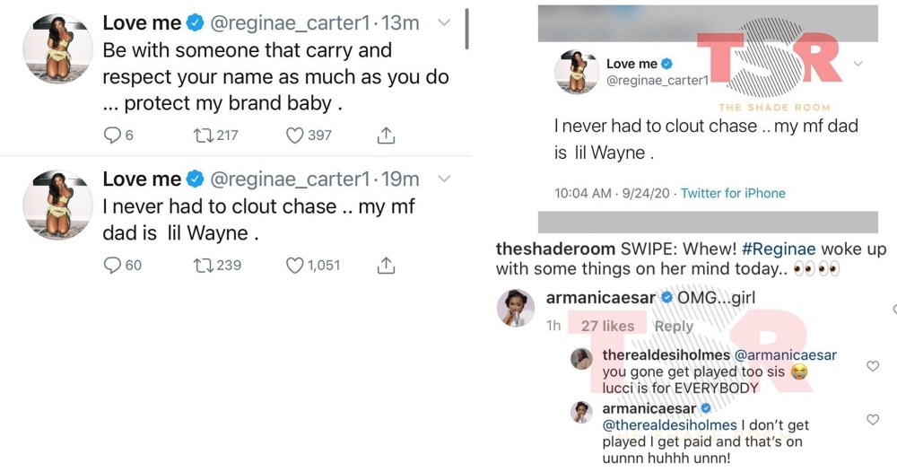 Yesterday, Armani Caesar caused quite the stir, on social media, when she and YFN Lucci showed up in a photo together, in bed. Immediately rumors were sparked, before Armani Caesar said that the photo was for a video shoot. Later, Reginae Carter, YFN Lucci's ex, tweeted that she never had to clout chase, because she's Lil Wayne's daughter, leading to Armani Caesar responding that she doesn't get played, she gets paid.