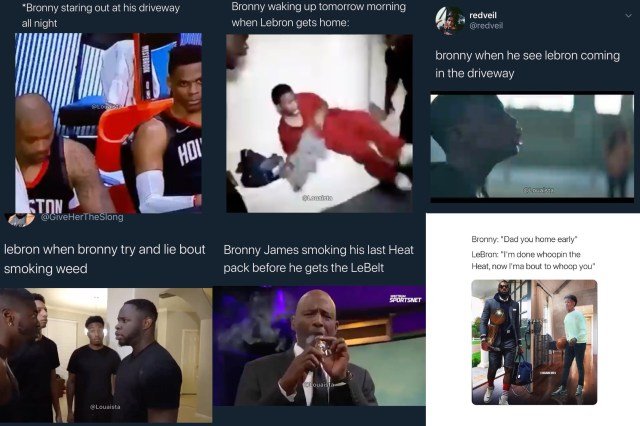 Bronny James began trending, last night, as the Lakers celebrated their NBA championship. His dad, LeBron James, won NBA Finals MVP, and delivered his speech, about returning home to be with his family. Twitter immediately had jokes about LeBron coming home to give Bronny a whooping, over the smoking weed incident.