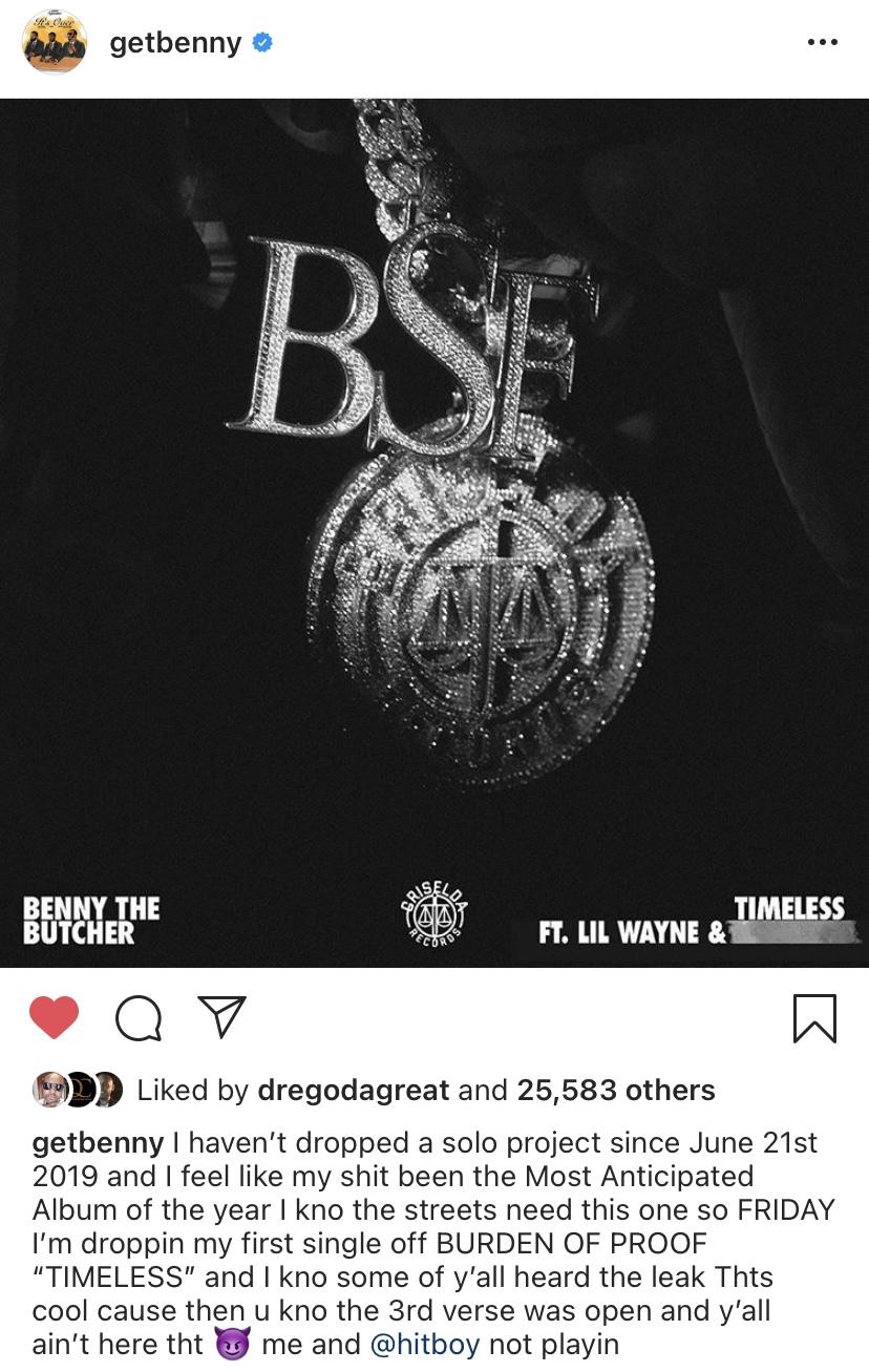 "Benny The Butcher Mixtape : benny, butcher, mixtape, Benny, Butcher, Announces, ""Timeless"", Single, Featuring, Wayne, Another, Mystery, Artist, Dropping, Friday;, Serves, First, Upcoming, 'Burden, Proof', Album, Hip-HopVibe.com"