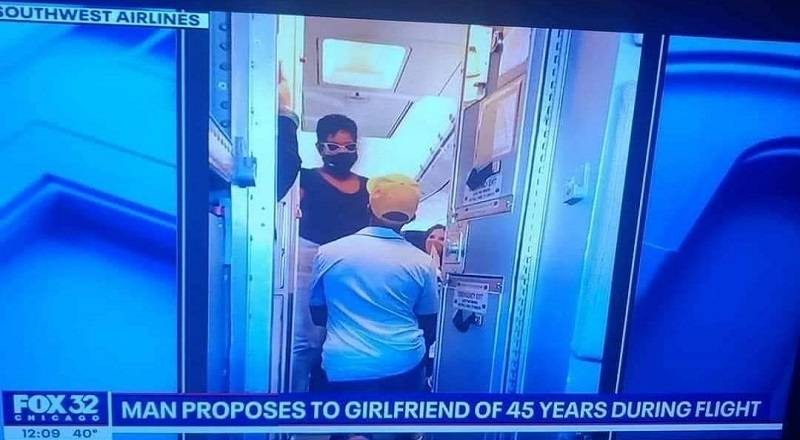 On a flight, a man decided to surprise his longtime girlfriend. The two had been together 45 years, so girlfriend almost isn't even the right word. Whatever the case, while she was on her way to the bathroom, the man proposed to her.
