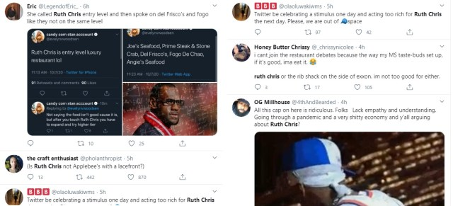 Ruth Chris was the top trending topic on Twitter, this afternoon. A woman, @evelynvwoodson, got the conversation started, calling the iconic restaurant entry level luxury restaurant. This sparked a debate on Twitter, complete with jokes, as one person called Ruth Chris Applebees with a lacefront.