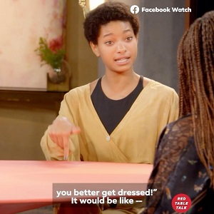 "Willow Smith, in the segment of ""Red Table Talk,"" shared by Jada Pinkett Smith, on her Instagram, took on black moms. She took the floor, saying black moms treat their sons differently from their daughters. Willow looked directly into Jada's eyes and told her how she treated Jaden differently from her."
