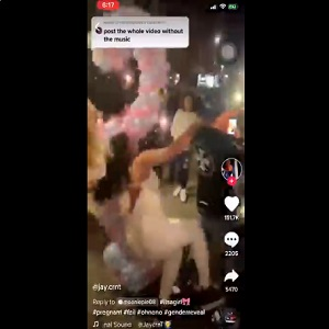 Man knocks over pregnant woman at her gender reveal party.