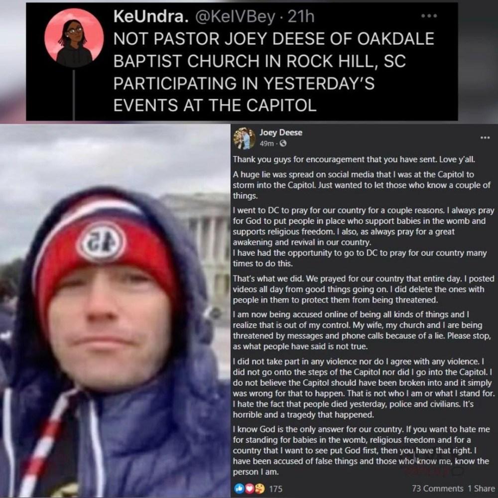 Joey Deese US Capitol riots Facebook