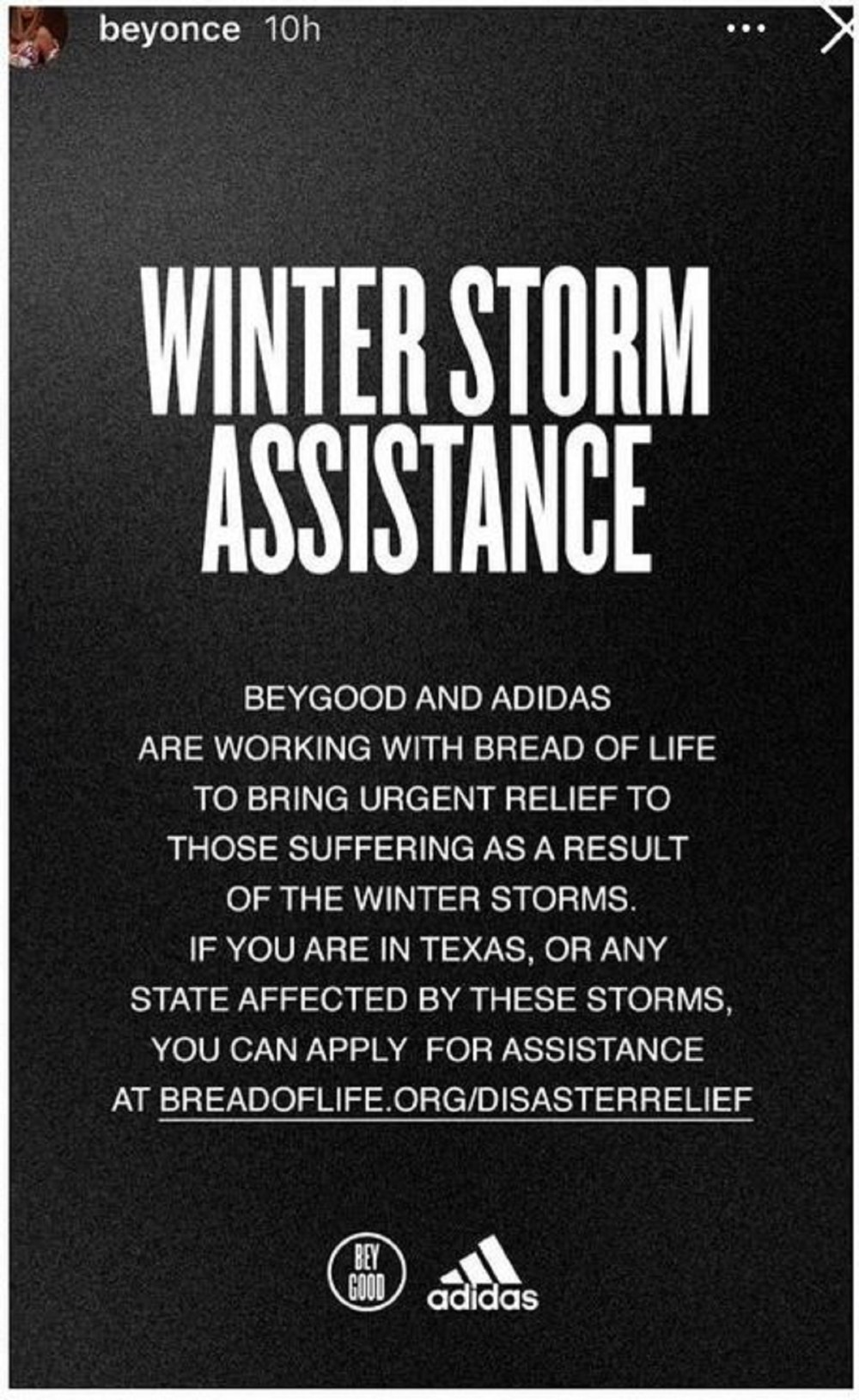 Beyonce Adidas Bread of Life assistance Texas