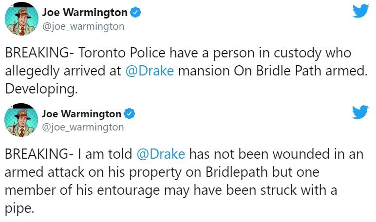 Drake Toronto mansion armed intruder