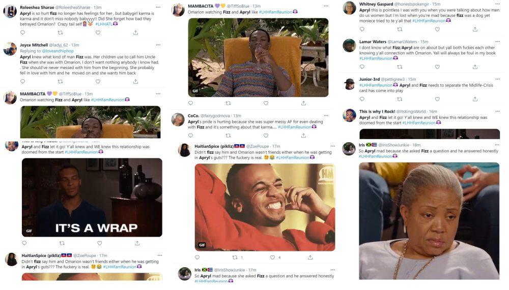 Fizz Apryl argument fight Twitter LHHH LHHFamReunion Omarion Moniece