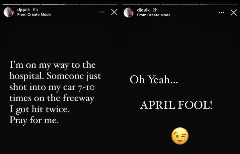 DJ Quik April Fools prank