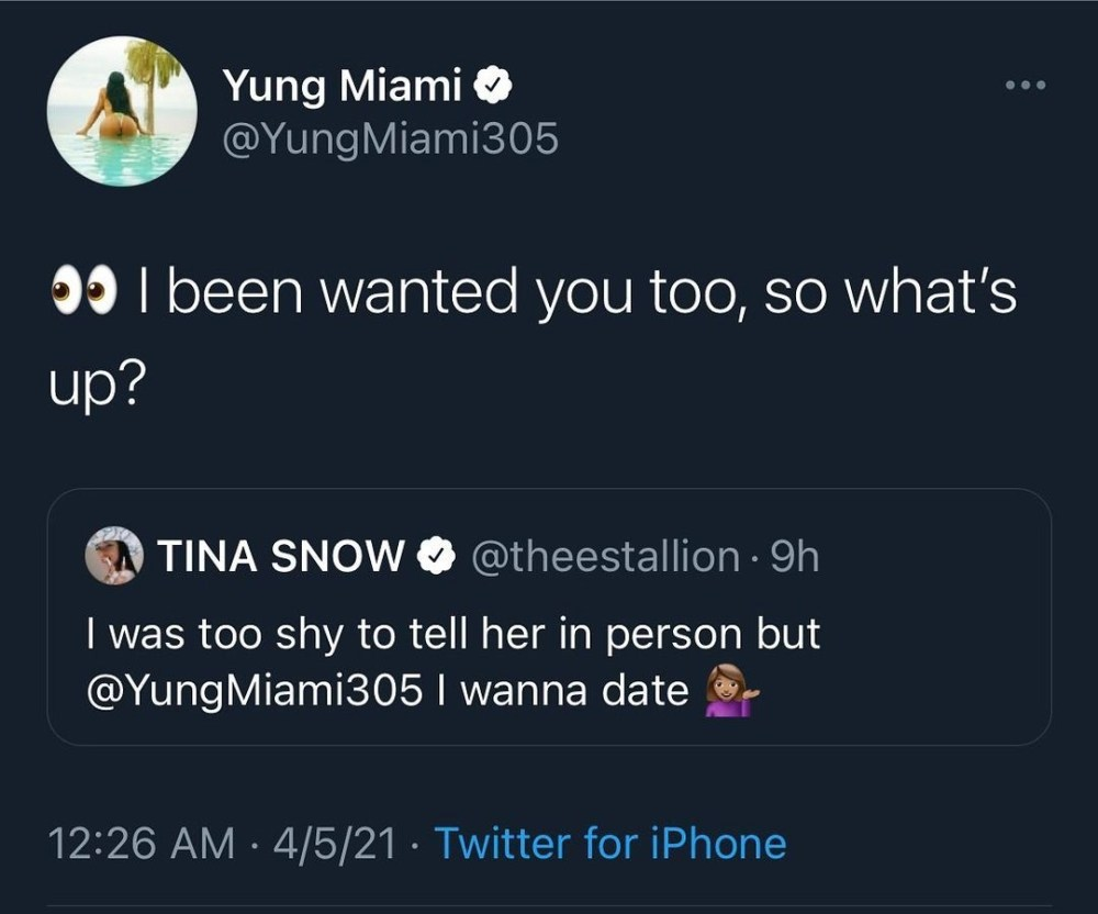 Megan Thee Stallion Yung Miami flirting