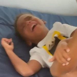 Angela Simmons' son cries over orange Yeezy slides