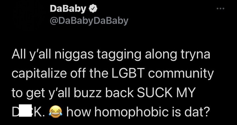 DaBaby tells critics to suck his dick and asks how homophobic is that