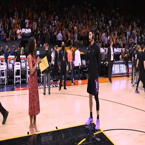 Devin Booker interview with Malika Andrews after Game 2 NBA Finals win