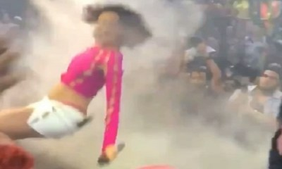 Doja Cat falls during performance