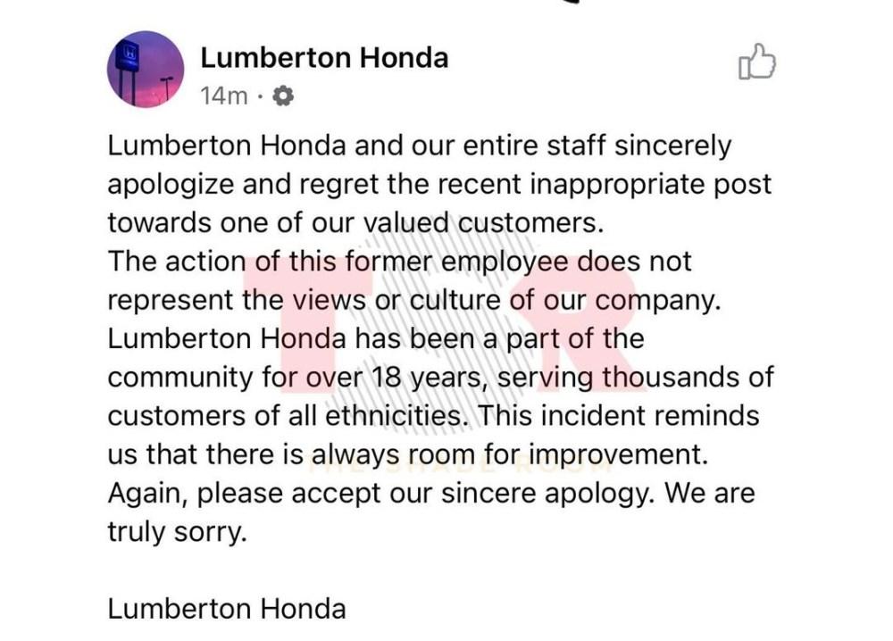 Lumberton Honda apologizes for Bon Quisha Facebook post