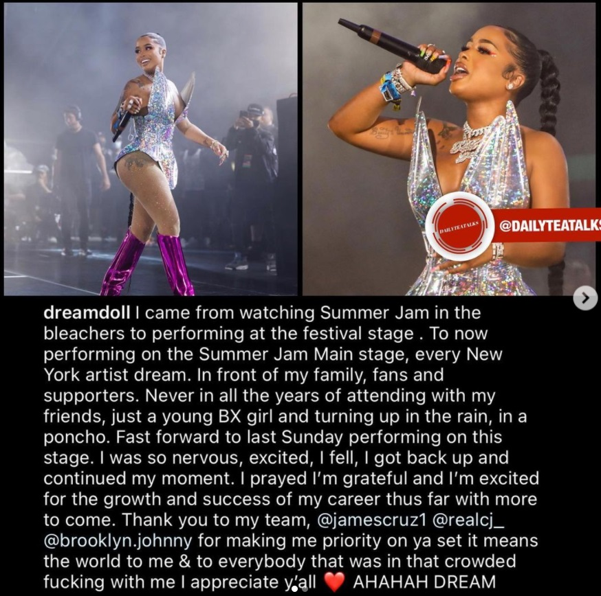 DreamDoll speaks on performing at Summer Jam and falling onstage