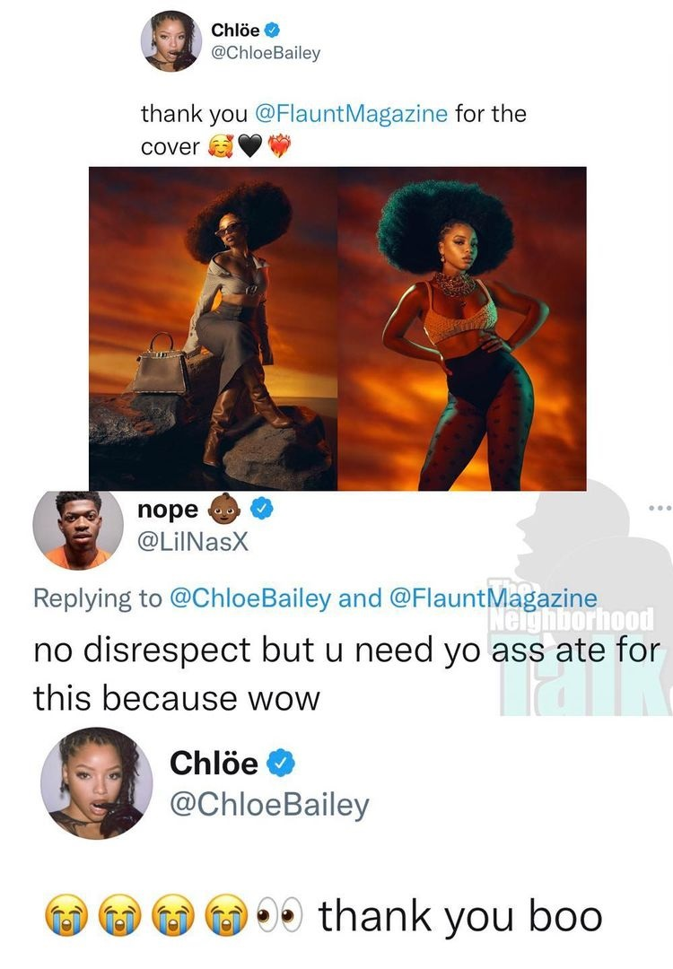 Lil Nas X tells Chloe Bailey she needs her booty ate after her Flaunt Magazine shoot