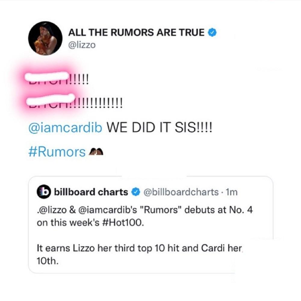 Lizzo celebrates Rumors debuting at number four on Billboard Hot 100