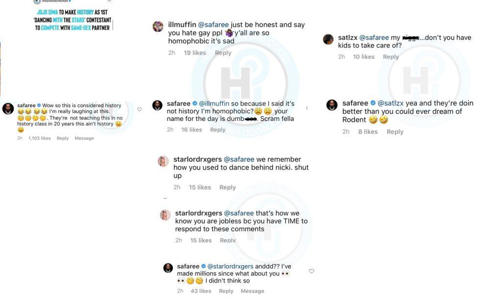 Safaree makes fun of Jojo Siwa having same sex DWTS dance partner and he gets dragged by social media