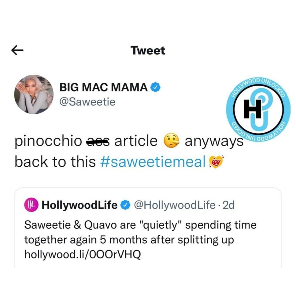 Saweetie denies rumors of getting back with Quavo