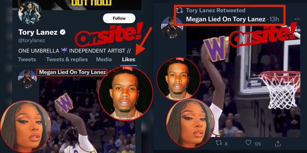 Tory Lanez caught liking and retweeting material from anti-Megan Thee Stallion Twitter account