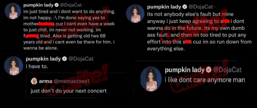 Doja Cat is unhappy and overworked, vents about doing stuff she doesn't want to do, on Twitter