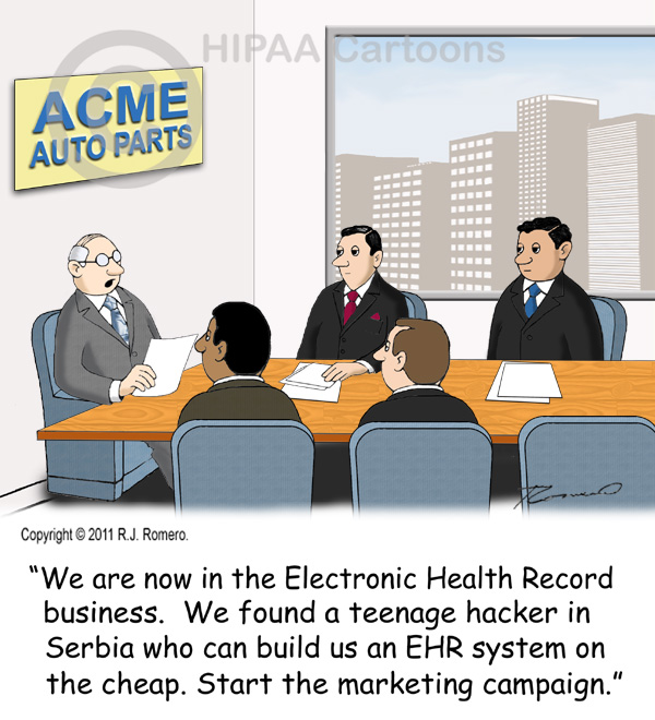 Cartoon-CEO-tells-executives-they-are-now-in-EHR-business_emr106
