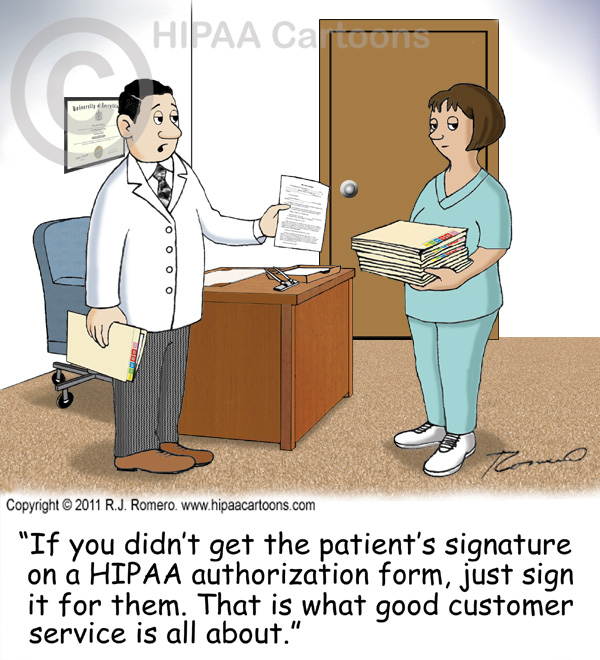 Cartoon-doctor-tells-nurse-to-sign-patient-name-on-authorization_e102
