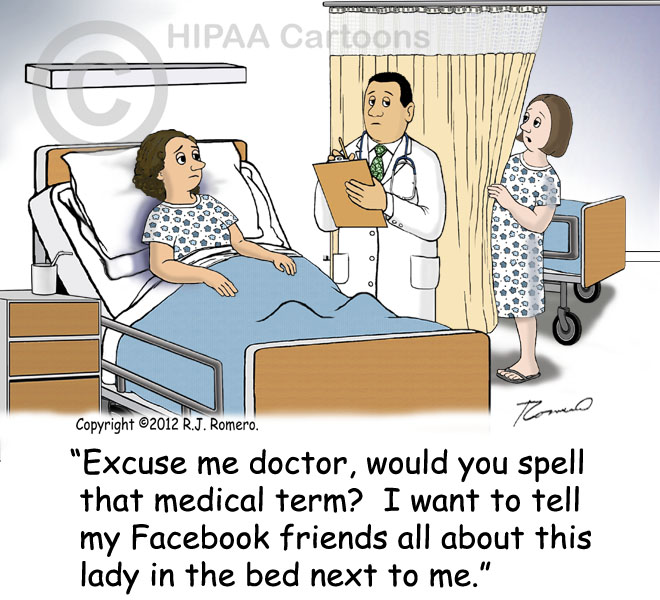 Cartoon-patient-eavesdrops-doctor-talking-to-another-patient-in-hospital-room-p132