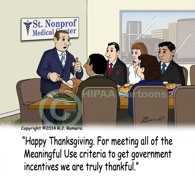 Cartoon-Executive-gives-thanks-for-meeting-meaningful-use-criteria_emr148