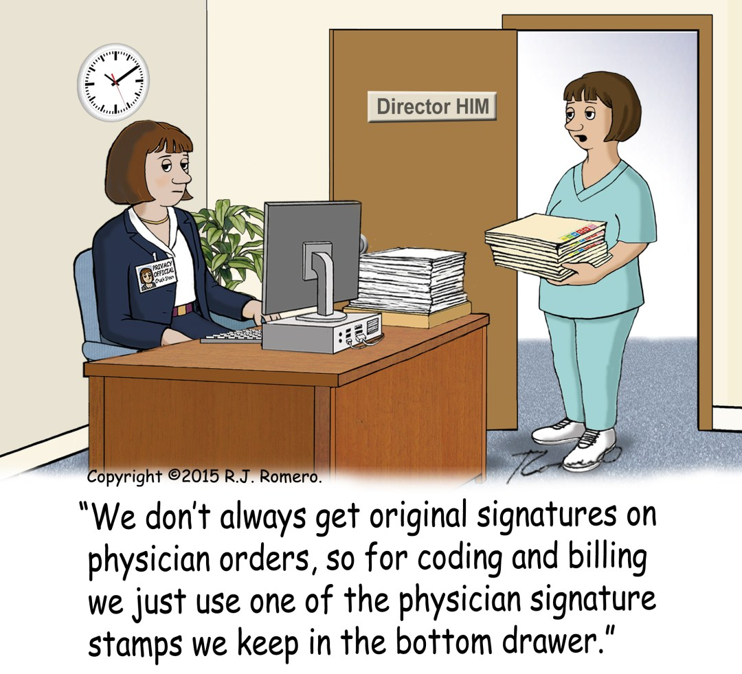 Cartoon-HIM-director-says-use-signature-stamp-for physician-orders_ICD-6