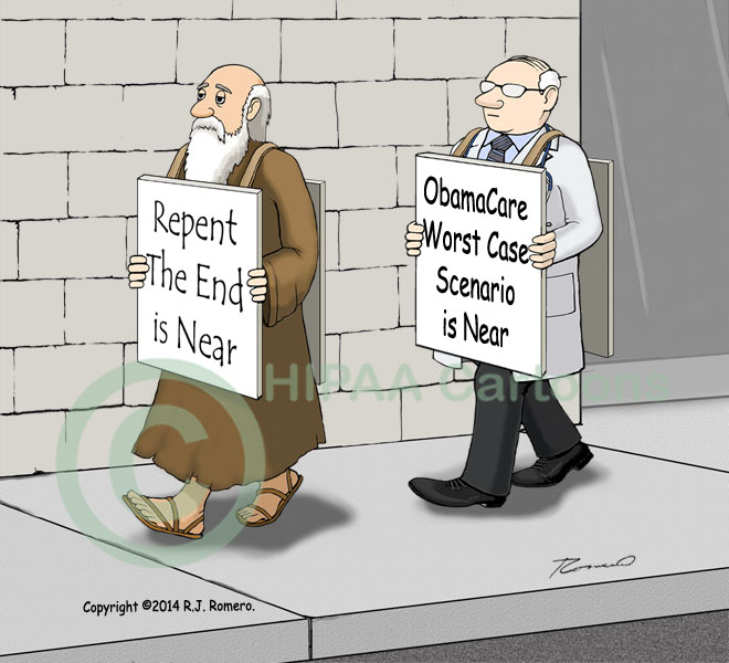 Cartoon of doctor Prophet of doom carrying sign that says Obama Care worst case scenario is near.